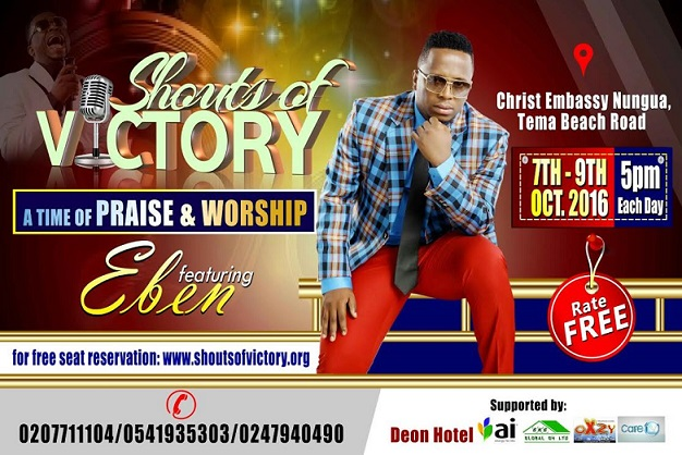 Eben is set to perform live in Ghana on the 7th to 9th day of October, 2016 at this year`s Shouts of Victory Concert organised by Christ Embassy Church, Nungua.