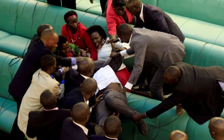 Uganda Parliamentarians in a fight with security guards
