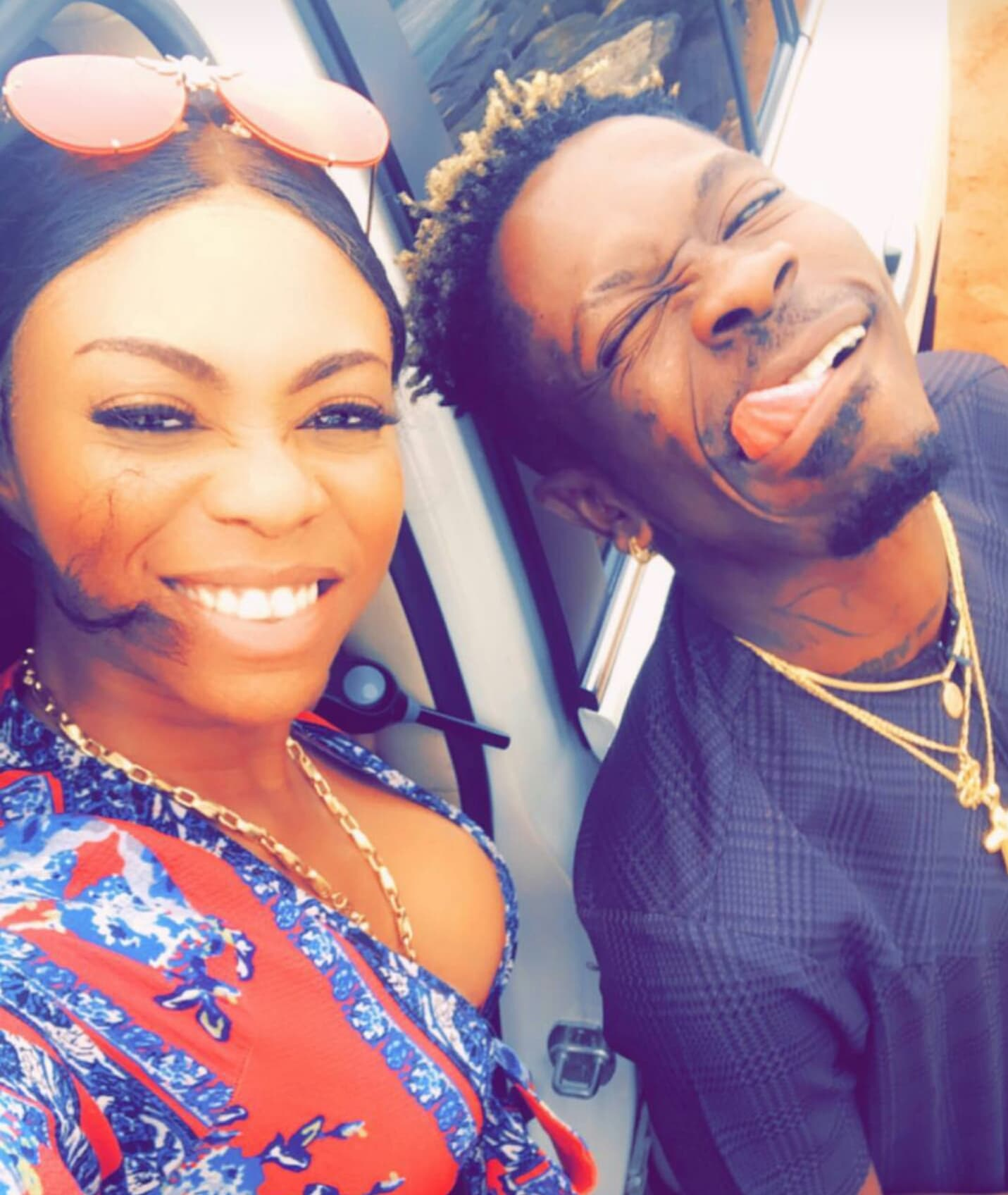 Shatta Wale takes 'babes' Shatta Michy for a ride after church