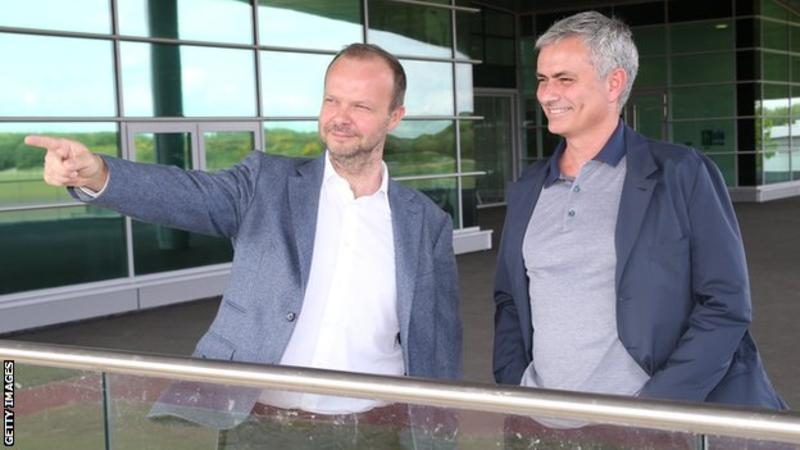 Woodward (left) has been held responsible for blocking the exit of Anthony Martial against the wishes of manager Jose Mourinho (right)