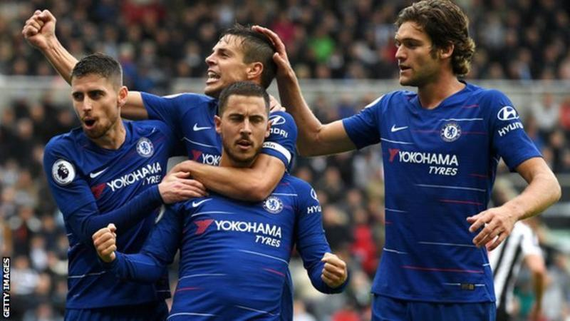 Eden Hazard (centre) scored his first goal of the season