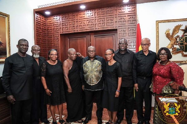 The family o f the late J. H. Mensah and President Akufo-Addo at the Jubilee House today