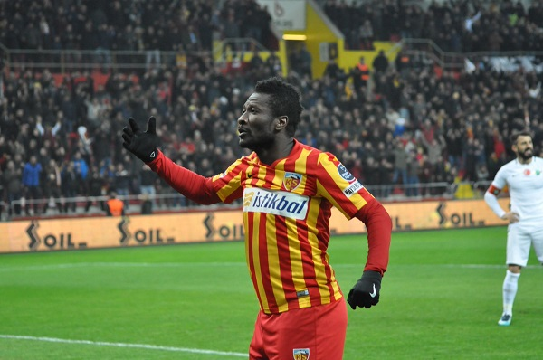 Asamoah Gyan's header seals win for Kayserispor in Turkish top-flight
