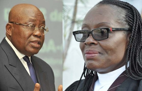 President Akufo-Addo's Attorney General, Gloria Akufo (Right), is being denied information to prosecute corruption cases