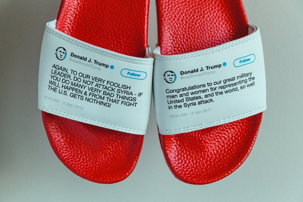 Flip-flops made out of Trump's contradictory tweets selling like hot cakes