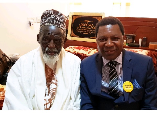 His Eminence Dr. Sheikh Usman Nuhu Sharubutu in a picture with NHIA CEO, Dr Samuel Annor