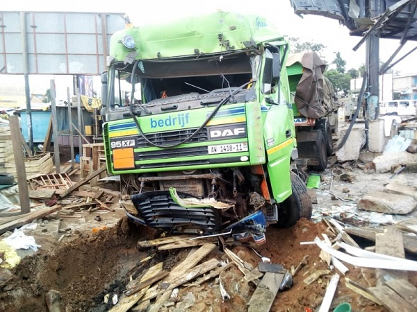 Truck crushes trader to death, injures several others
