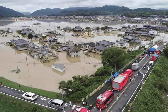 Japan's military have been airlifting people to safety from the flood waters