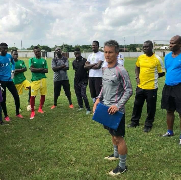 Kenichi Yatsuhashi spotted leading Aduana Stars training session