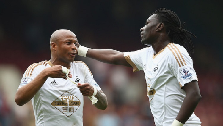 Bafetimbi Gomis and Andre Ayew at Swansea City