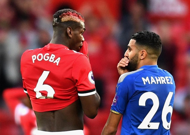 Pogba and Mahrez covering their mouth