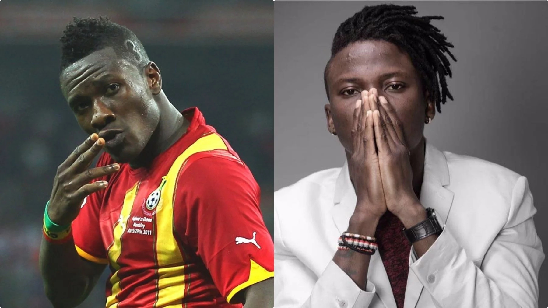 Asamoah Gyan(left) has denied reports he is set to pay Zylofon Media $2million as bailout for Stonebwoy(right)