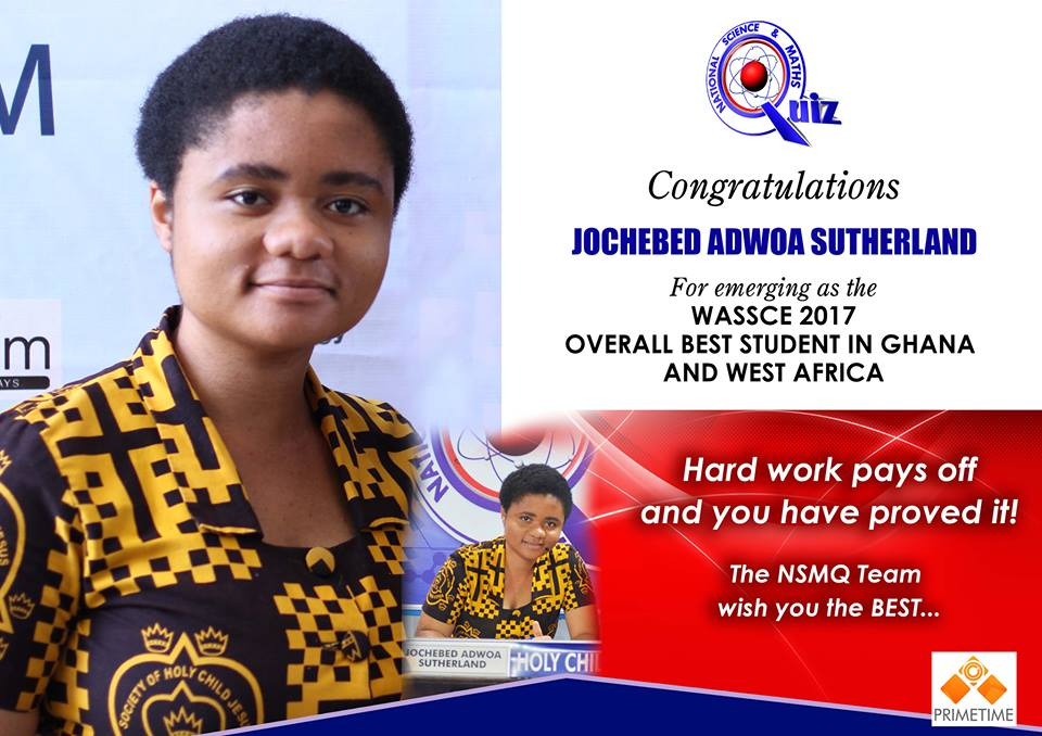 This Holy Child graduate was the best overall WASSCE student in West Africa making Ghana proud