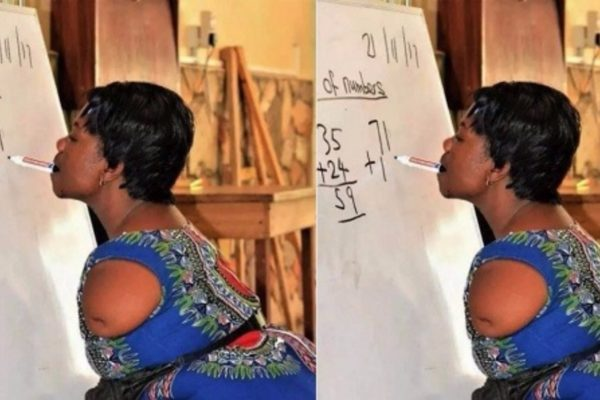 This armless mathematics teacher writes with her mouth