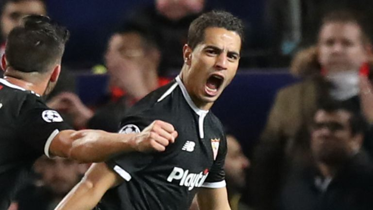 Wissam Ben Yedder celebrates after scoring Sevilla's first goal