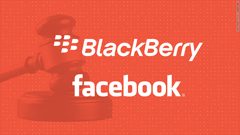 BlackBerry (BB) filed a lawsuit in California on Tuesday against Facebook