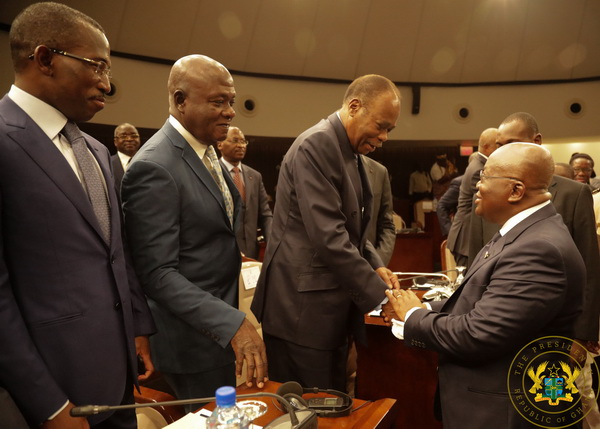 Akufo-Addo exchanging pleasantries with one of the Togolese opposition leaders
