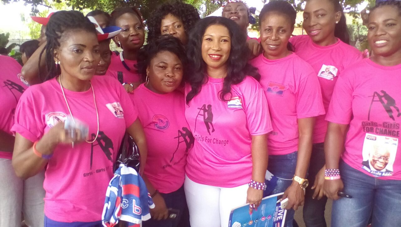 Ms. Vera Wiredu, National Coordinator, Girls, Girls Movement of NPP and some of her ladies