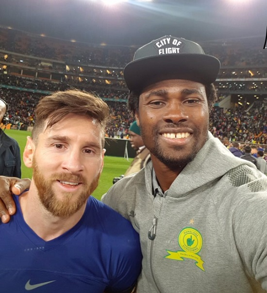 Lionel Messi and Razak Brimah after Barcelona beat Sundowns