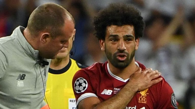 Mohamed Salah damaged his shoulder in a challenge by Real Madrid's Sergio Ramos