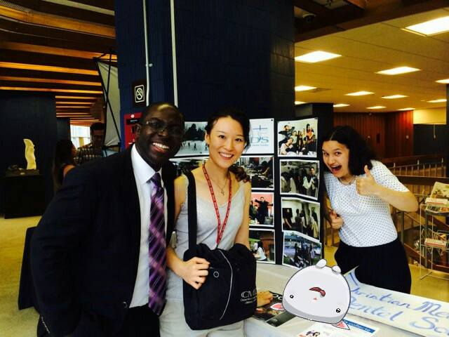Yaw with two CMDS members a few years ago at a McGill University medical clubs day. Photo credit: yawperbi.com