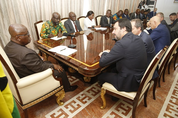President_ Akufo-Addo with the Italian delegation