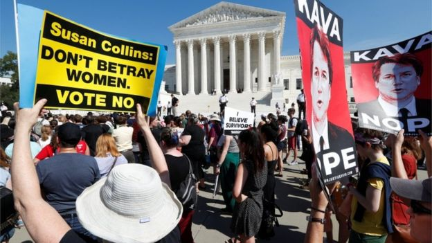 Anti-Kavanaugh protesters rally outside the US Supreme Court