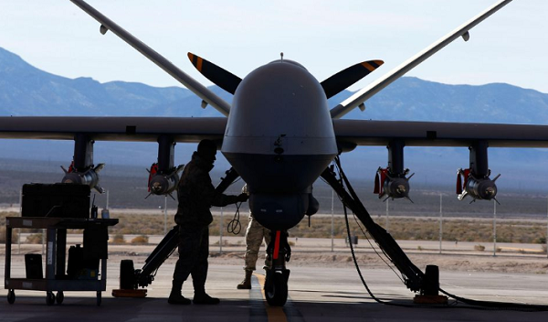 An MQ-9 Reaper remotely piloted aircraft (RPA) gets  prepared for a training mission at Creech Air Force Base, Nevada, on Nov. 17, 2015.