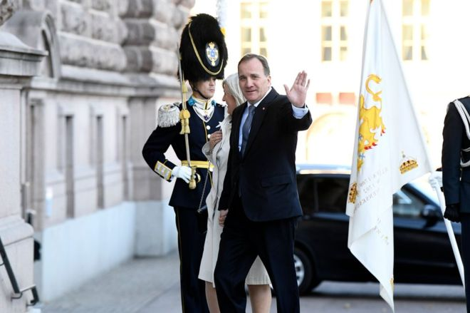Stefan Lofven waved as he and his wife Ulla arrived at the Swedish parliament on Tuesday