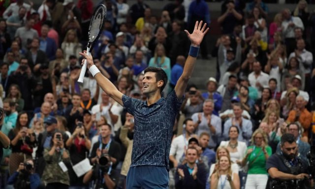 Novak Djokovic celebrates his victory at the US Open. Photograph: Timothy A. Clary/AFP/Getty Images