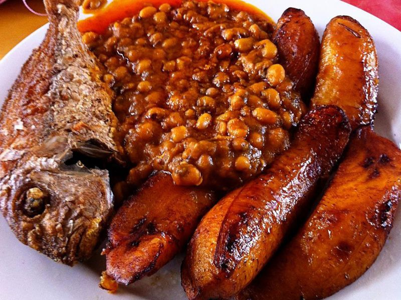 plantain with beans