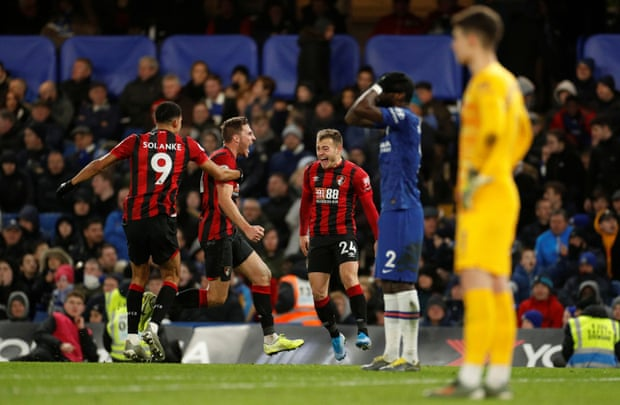 Bournemouth's Dan Gosling celebrates at Stamford Bridge. Photograph: John Sibley/Action Images/Reuters
