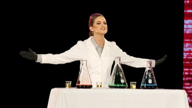 Camille Schrier impressed judges by performing a live science experiment in the talent show segment of the Miss America contest (Image copyright: GETTY IMAGES)