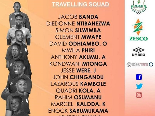 CAFCC: Zesco United names 18 member traveling squad to battle Asante Kotoko