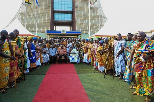 President Akufo-Addo after presenting a Constitutional Instrument to the newly-created Ahafo Region
