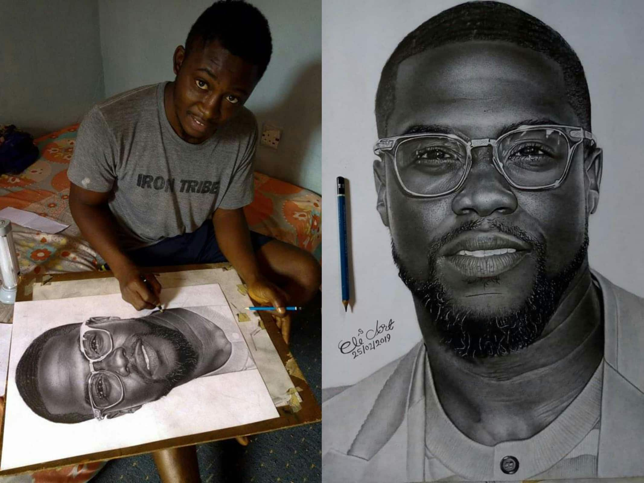 Kevin hart reaches out to young nigerian artist who did a drawing of him