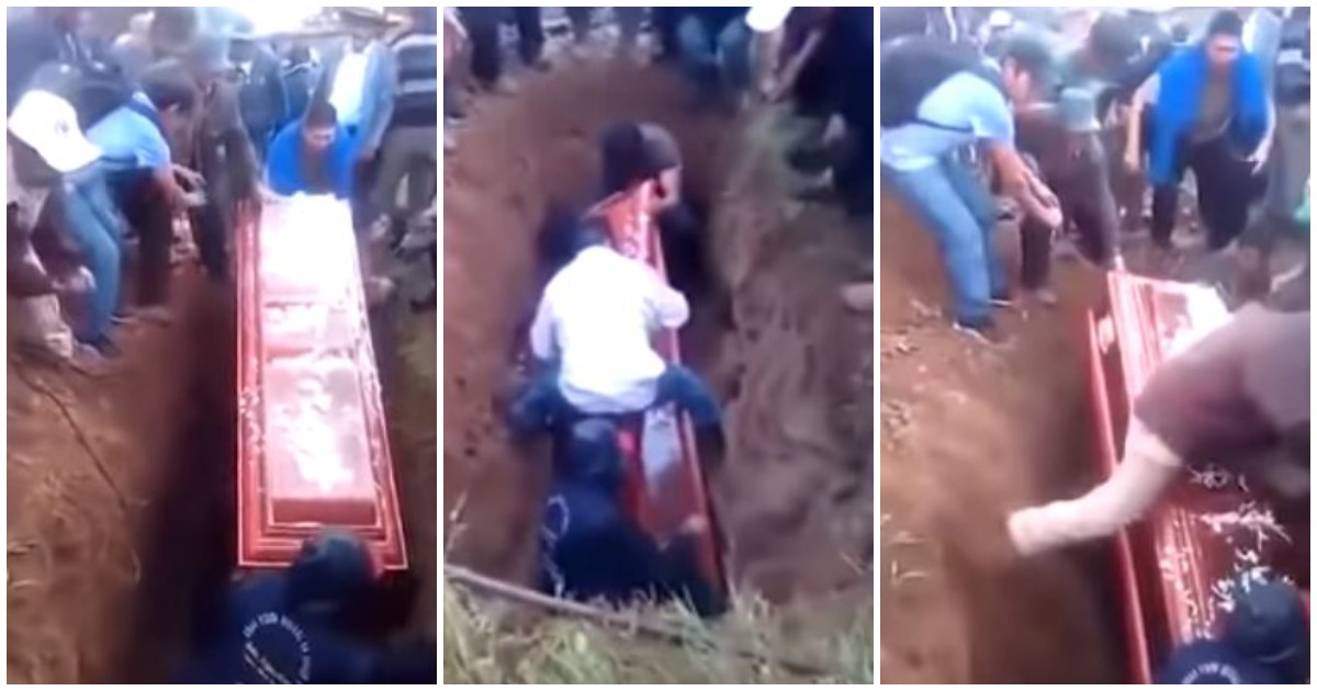 Corpse falls out of coffin during burial