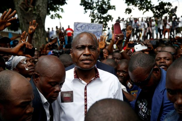 Martin Fayulu spoke at a rally in Kinshasa on Friday