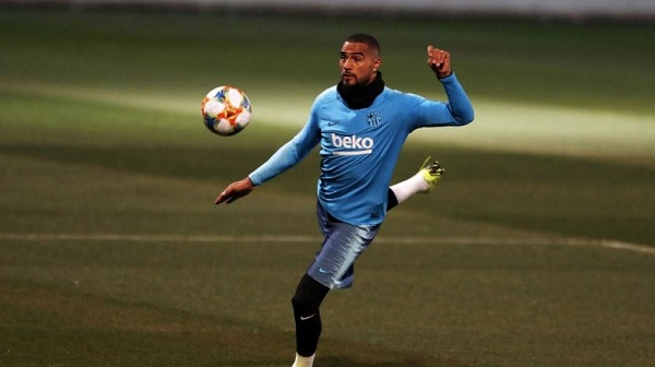 Watch: K.P Boateng's first goals at Barcelona training