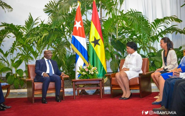 Dr Bawumia and  Ms Ines Maria Chapman Waugh, the Vice-President of the Councils of State and Ministers of the Republic of Cuba