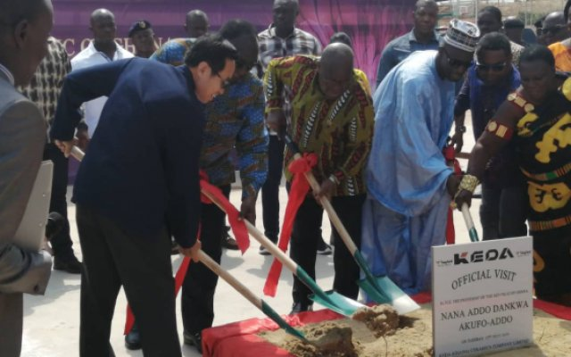 Prez. Akufo-Addo cuts sod for phase 2 of KEDA ceramics company
