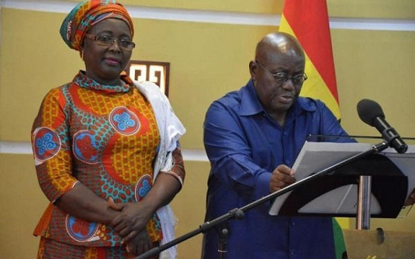 Minister for Local Government and Rural Development, Mrs Alima Mahama and President Akufo-Addo
