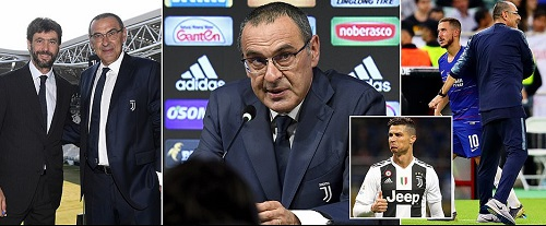 Maurizio Sarri takes swipe at Eden Hazard at his Juventus unveiling