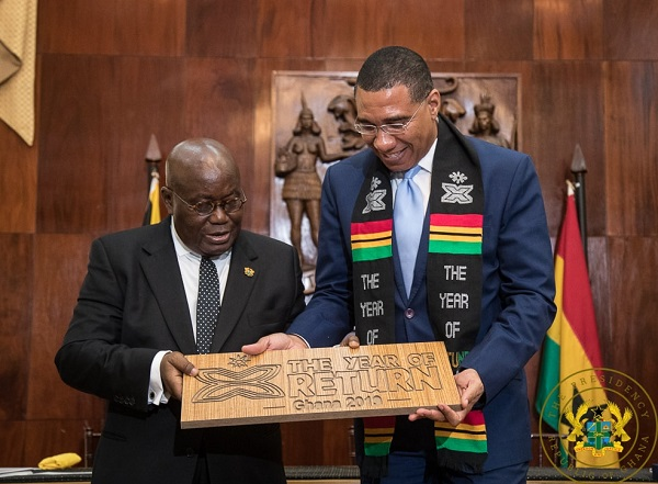 President Akufo-Addo interacting with Prime Minister Andrew Holness.