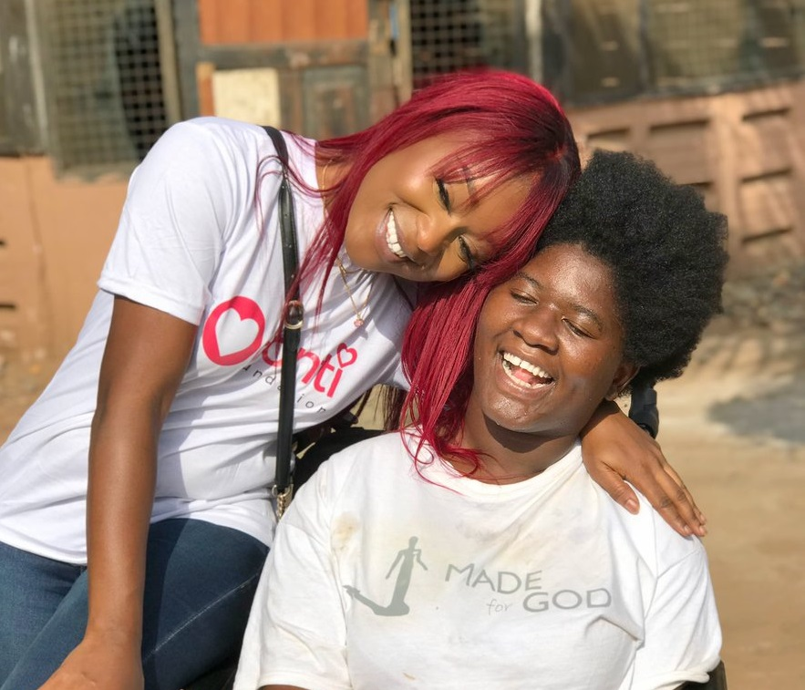 Efia Odo spends time with children with disability