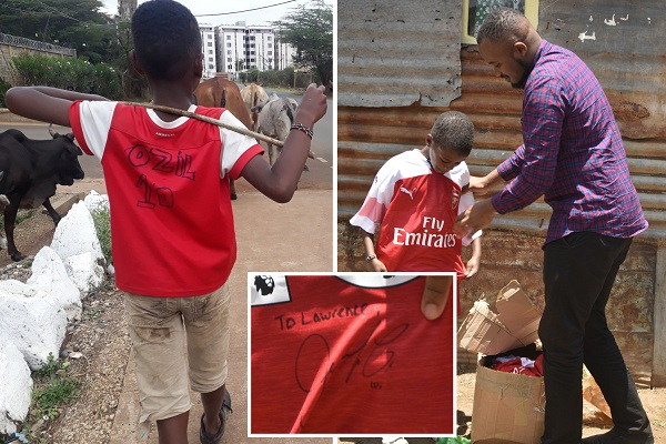 PHOTOS: Classy Ozil sends Arsenal shirt to Kenyan boy who was pictured in homemade kit