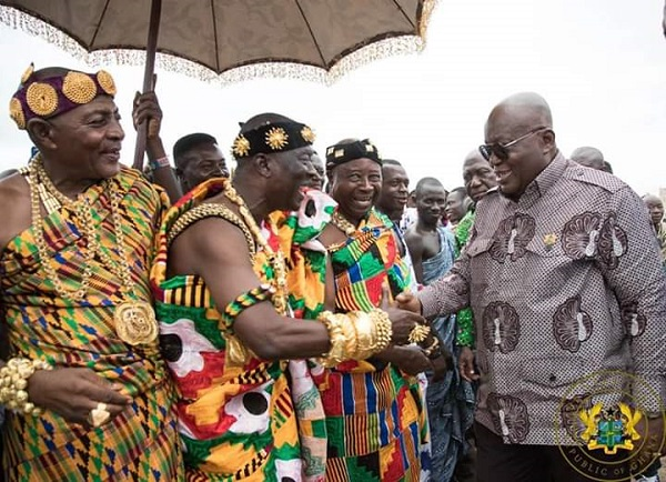 Paramount Chief of the Krachi Traditional Area, Nana Mprah Besemuna III and President Akufo-Addo