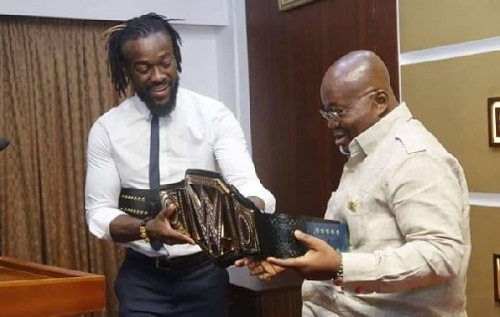 Kofi Kingston presents WWE title to Akufo-Addo