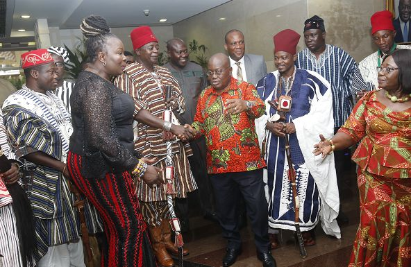 President Nana Addo Dankwa Akufo-Addo with a delegation from the Navrongo Traditional Area at the Jubilee House in Accra. Picture: SAMUEL TEI ADANO