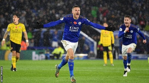 EPL: Vardy scores as Leicester compound Arsenal's misery